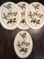 ROMANY GYPSY WASHABLES NON SLIP SETS OF 4 MATS/RUGS CREAM/BE GREAT THICK MATS